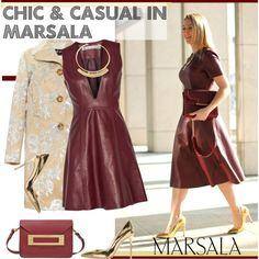 Major Marsala Dresses by paculi on Polyvore featuring Acne Studios, Rochas, Gianvito Rossi, Sophie Hulme, Lizzie Fortunato, gold and marsaladress