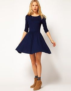 In need of more winter dresses. ASOS Skater Dress With 3/4 Ruched Sleeves at asos.com