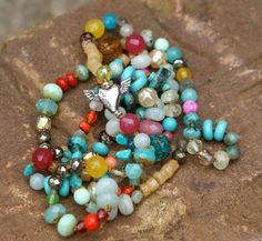Colorful whimsy long necklace layering boho by Mollymoojewels