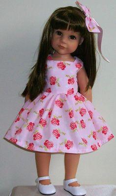 "SUMMER SALE! pink rose dress & hair bow for 18"" dolls Designafriend/Gotz hannah"