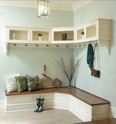 Furniture, Wooden Corner Mudroom Design With Bench Seat Drawer Shoe Storage Clothing Hooks And Cabinet Without Door Ideas: 60 Appealing Mudroom and Hallway Storage Ideas to Apply Home Design, Interior Design, Design Ideas, Design Inspiration, Muebles Living, Hallway Storage, Entryway Bench, Mudroom Benches, Mudroom Cubbies