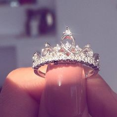 Fairytale Midnight Princess Tiara Ring - - Description: The most beautiful princess ring and we love it! Top off your mani with our Fairytale Midnight Princess Ring. Cute Rings, Pretty Rings, Beautiful Rings, 15 Rings, Simple Rings, Halo Rings, Beautiful Pictures, Cute Jewelry, Jewelry Accessories