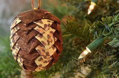 Leopard Print Christmas Ornament  Animal Print Holday Tree Bauble  Handmade Ribbon Pinecone Ball  Sassy Sister Gift Idea  Unique Holiday by kikiverde from Kikiverde Design Studio Find it now at http://ift.tt/1XLJtvP! #EtsyGifts #Handmade #Etsy