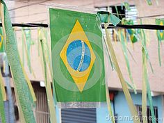 Street decorated with flags and brazilian colors for World Cup.
