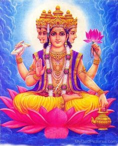 Brahma is one of the three major gods of the Hindu religion, together with Shiva and Vishnu. Worship of Brahma began in the Vedic Age of Indian history and its importance was gradually outweighed by the worship of Shiva and Vishnu over time. Brahma, Creation Myth, Lord Vishnu Wallpapers, Hindu Deities, World Religions, God Pictures, Hindu Art, Indian Gods, Durga