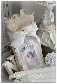 I love everything about this picture!! Burlap. white