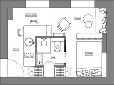 The final plan of the project. - Decoration, Room Decoration, Decoration Appartement, Home Decor, Bedroom Decor Studio Apartment Plan, Small Apartment Plans, Student Apartment, Apartment Floor Plans, Apartment Design, Small Apartments, Studio Floor Plans, Small Loft, Studio Kitchen
