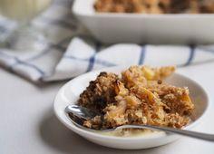 Baked Apple Pie Oatmeal with Sweet Cinnamon Coconut Milk Sauce (Vegan) Apple Pie Oatmeal, Baked Oatmeal, Most Delicious Recipe, Dessert Recipes, Desserts, Vegan Breakfast, Coconut Milk, I Foods, Brunch
