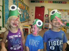 We made frog hats. We were learning about the plagues of Egypt.