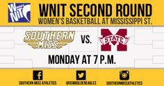 Your Lady Eagles have advanced to the 2nd Round of the WNIT! Cheer them on as they take on local rival Mississippi State Monday at 7 p.m.