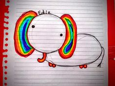 This is an adorable rainbow elephant i drew! Do you like it?