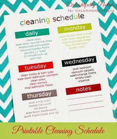 Printable Weekly Cleaning Schedule  via www.uncommondesignsonline.com  #cleaningschedule  #freeprintables