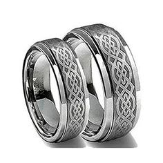 His & Her's 8MM/6MM Tungsten Carbide Wedding Band Ring Set w/Laser Etched Celtic Design. Please use drop down menu to choose your desired sizes. Genuine Tungsten Carbide (Cobalt Free) Wedding Band Ring. Hypoallergenic - Comfort Fit. This ring can be worn as a Wedding Band or Promise Ring by men or women. Beware of Imitated Replicas - 30 Day Money Back Gurantee!.