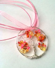 Love Pink Yellow and Orange Tree of Life Necklace