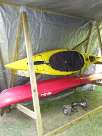 Kayak Storage Ideas riding with dogs: homemade kayak rack storage unit Diy Kayak Storage, Boat Storage, Storage Ideas, Storage Racks, Storage Solutions, Kayak Camping, Canoe And Kayak, Kayak Fishing, Kayak Paddle