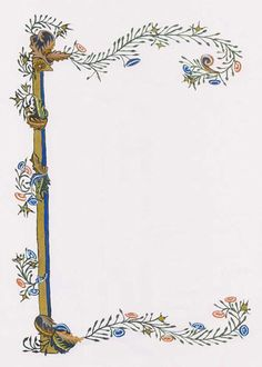 medieval illuminated borders - Google Search Frame Background, Paper Background, Illuminated Letters, Illuminated Manuscript, Illumination Art, School Painting, Quilt Labels, Beautiful Calligraphy, Borders For Paper