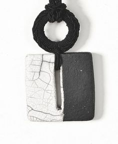 Pendant Necklace Black and White ceramic by AliquidTextileJewels, €36.00