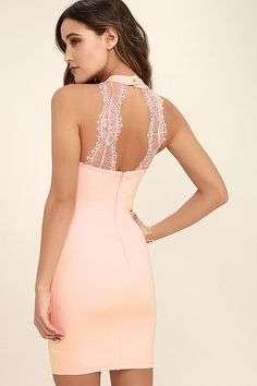 Lulus Exclusive! You'll be absolutely irresistible in the Endlessly Alluring Blush Pink Lace Bodycon Dress! This sexy stretch knit dress has a high halter neckline and a fitted bodice (with princess seams) that sets above a figure flaunting skirt. Two panels of sheer lace accent the open back for an enticing finishing touch. Hidden back zipper.