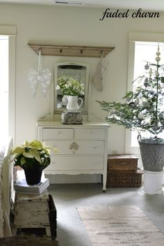 Faded Charm: ~Holiday Home Tour 2012 & A Linky Party~love the olive bucket holding the christmas tree
