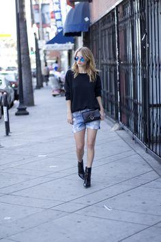 Ray-Ban blue aviator sunglasses, LNA sweater, Rag denim shorts