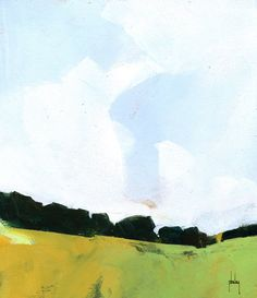 Semi-abstract landscape original painting - Diffuse sky