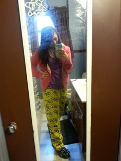 Spongebob jammies and wet hair and no makeup while there is popcorn chicken in the oven. Me in my natural habitat