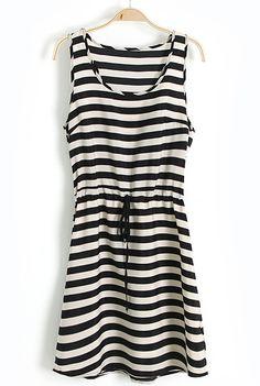 Black White Striped Sleeveless Drawstring Waist Dress US$22.79