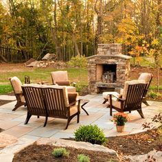 large pavers and chimney; casual feel