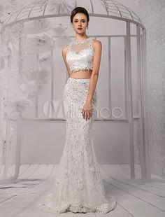 Vestido de novia de escote sirena del cordón de Cultivos-tapa de la ilusión de dos piezas - Milanoo.com