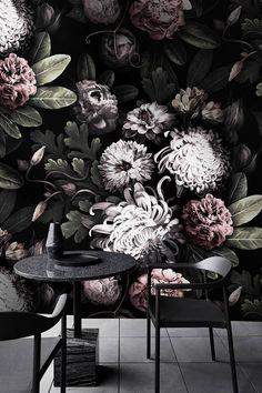 Dark Floral Wallpaper, floral wallpaper, dark flowers, Peony wallpaper, Black Floral, Wallpaper, removable wallpaper, tropical wallpaper,