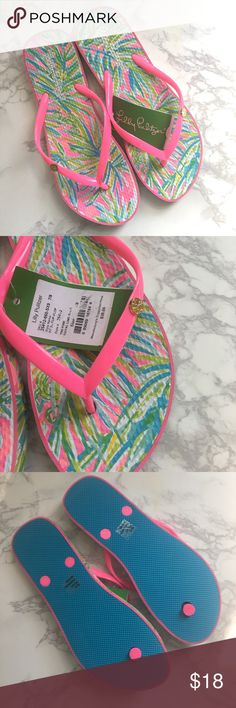 NWT Lilly Pulitzer Sandals New with tags! Authentic Lilly Pulitzer flip flops. Never worn, brand new this season. Marked size 7/8, would fit from a 7 to 8.5. Lilly Pulitzer Shoes Sandals