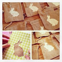 May Designs Easter Brunch: homemade bunny stencil for Burlap favor bags -- May Designs comes up with such adorable ideas!