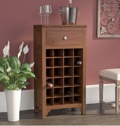 Floor Wine Rack Cabinet 25 Bottle Storage With Drawer Wood Antique Walnut #Unbranded
