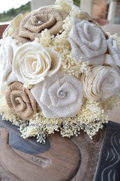 Burlap and Sola Flowers Bridal Bouquet White Natural by EmaCreates