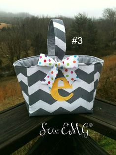 Chevron Monogrammed Easter Basket Ideas #2014 #diy #easter #basket #ideas www.loveitsomuch.com