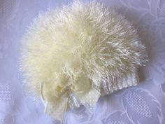 Hand Knitted Cream Eyelash Wool Beanie Hat, fits 0- 3 months £3.99