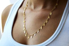 Gold chain, gold necklace, leaves necklace, delicate necklace,  thin gold necklace, dainty gold necklace, minimalist necklace by LevRanJewelry on Etsy https://www.etsy.com/listing/111672616/gold-chain-gold-necklace-leaves-necklace