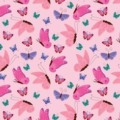 Fabric Butterfly, Pink Butterfly, Butterflies, Butterfly Wallpaper, Pink Fabric, Cotton Fabric, Woven Fabric, Butterfly Lighting, Sewing Labels