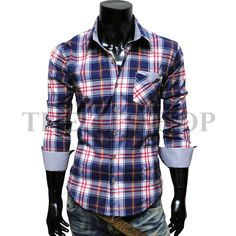 Men's casual stripe patch checker shirt $24.98