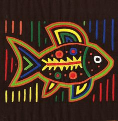A fabulous Spirit Fish molita ( small mola ) in 3+ full layers of gorgeous, superbly hand stitched reverse applique! This unusual fabric folk art design features a bright yellow skeleton which makes it different.. and so much more interesting! It alludes to the fishs spirit or essence like other Spirit Molas do.    It is a real treat to run your hand over this excellent work of textile art.. wonderful bas relief.. thick and weighty. I love everything about this mola.. it certainly is a…