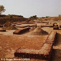 No one yet knows why such a great civilisation disappeared. Pictured are the remains of the Granaries of Harappa, Pakistan