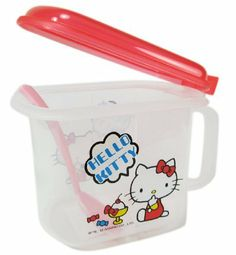 Hello Kitty Food Storage Container - Hello Kitty Tupperware by Sanrio. $9.50. Container is 3.5 Inches in Depth, 3 Inches in Width, and 4 Inches in LengthDivider in the Center for Separating Food ItemsLid Pops Up with the Push of a Thumb and Spoon Comes Included