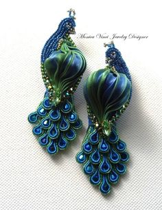 Monica Vinci peacock earrings with soutache and shibori.Stunning!  Could use a variation of this design for RIBBON EMBRODIERY.: