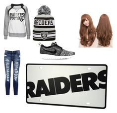 """Raiders"" by tay-tay1 ❤ liked on Polyvore featuring moda, Majestic, New Era, Current/Elliott, NIKE y Sankins"