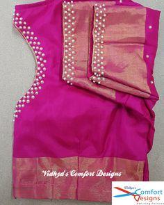 Bridal Blouse Designs done at Vidhya's Comfort Designs, Besant Nagar, Chennai Contact - 9003020689 - womansbag Best Blouse Designs, Simple Blouse Designs, Stylish Blouse Design, Bridal Blouse Designs, Saree Blouse Designs, Chennai, Hand Work Blouse Design, Maggam Work Designs, Kurta Neck Design