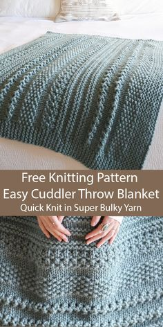 Free Knitting for Easy Cuddler Throw Blanket in 2 Sizes in Super Bulky Yarn - St. Free Knitting for Easy Cuddler Throw Blanket in 2 Sizes in Super Bulky Yarn – Stricken ist so ein Knitting Stitches, Knitting Yarn, Free Knitting, Baby Knitting, Knitting Baby Blankets, Diy Throw Blankets, Cable Knit Blankets, Cable Knit Throw, Knitting Machine