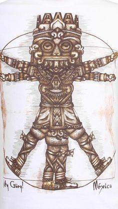 DA-TLÁLOC: Playera de hombre con estampado de Tláloc, cuello redondo, manga corta, corte básico.  Técnica: Estampado en tintas de aplicación.  Composición tela: 100% Algodón.