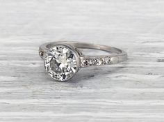 Simple and perfect. This antique Edwardian ring features a bezel set just over a carat old European cut diamond. ITEM Shop link in bio. Engagement Ring Buying Guide, Deco Engagement Ring, Beautiful Engagement Rings, Antique Engagement Rings, Beautiful Rings, Diamond Engagement Rings, Solitaire Diamond, Engagement Ideas, Edwardian Ring