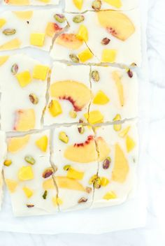 Sweet Peach Mango Pistachio Frozen Yogurt Bark