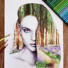 """Beauty Dreams - Hovey Eyres -  """"I think this is one of the most challenging drawings I've ever done. It took me over 50 hours and I almost gave up twice! I drew her face with black ballpoint pen and the forest with pencil crayons."""" Hovey Eyres♥♥    Be artist Be art"""